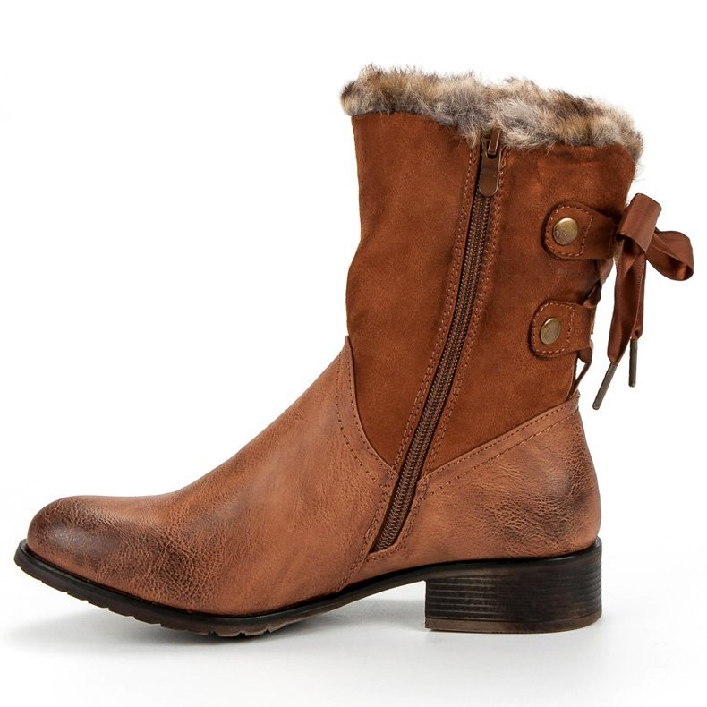 Brown Low Heel Casual Autumn/Winter Mid-Calf Boots