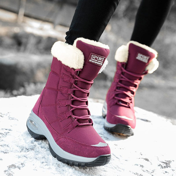 Women Warm Non-Slip Solid Lace Up Snow Boots