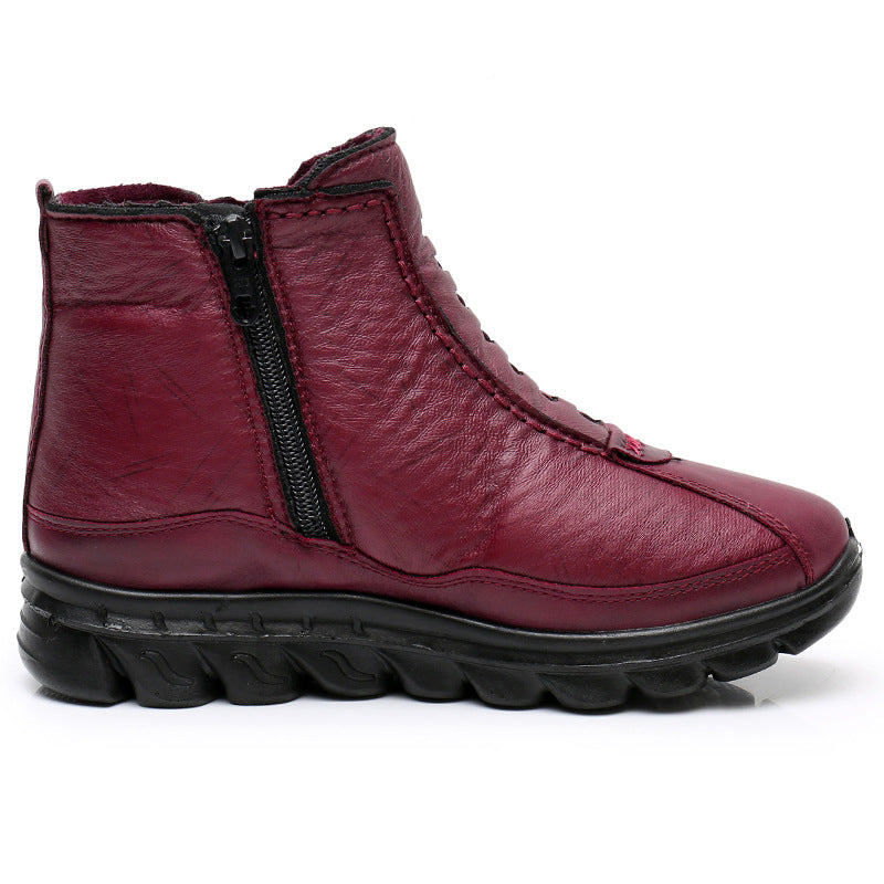 Split Joint Winter Leather Boots