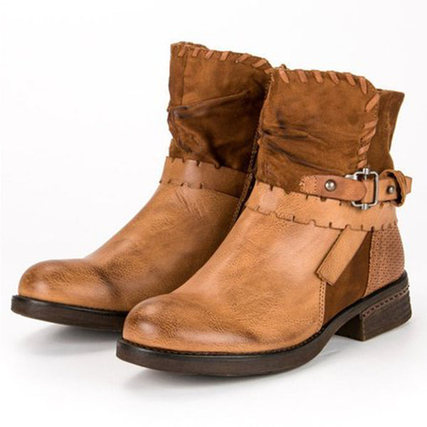 Women Yellow Buckle Low Heel Pu Casual Ankle Boots