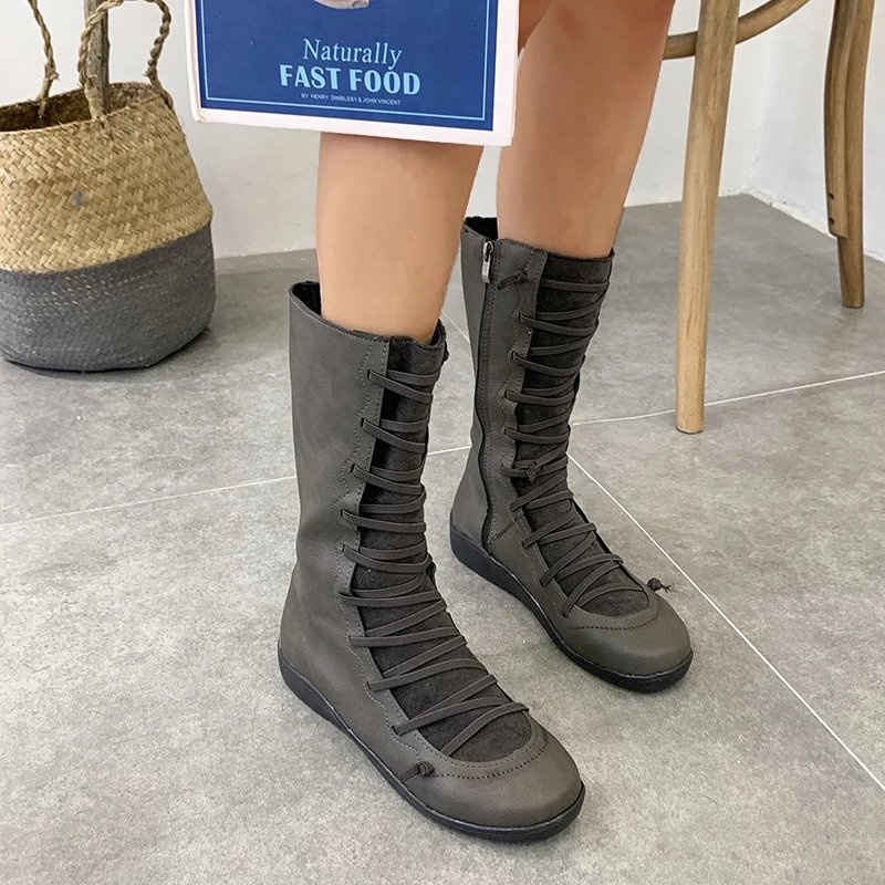 Women's Autumn/Winter Casual Zipper Flat High Boots