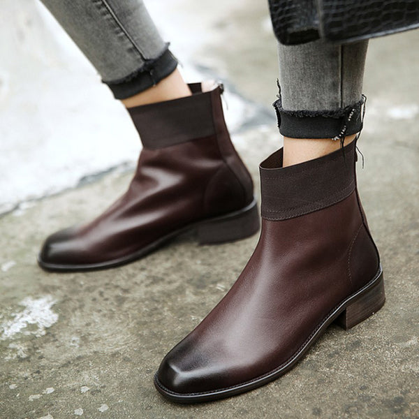 Women's Vintage Cowhide Leather Casual Ankle Booties