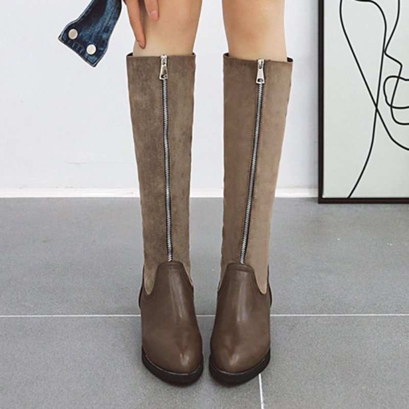Women Round Toe Zipper Chunky Heel Winter Casual Boots