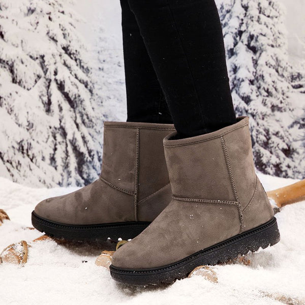 Low Heel Snow Boots Slip On Casual Winter Warm Boots Womens Winter Shoes