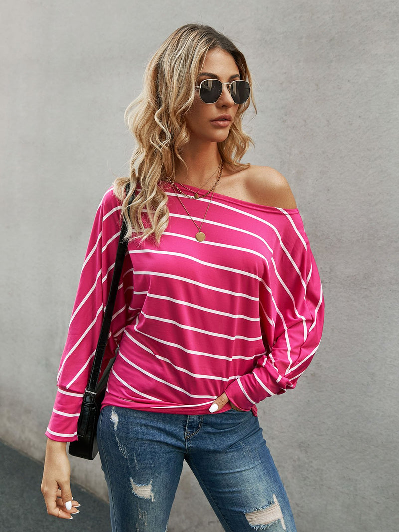 Rose Red Shift Long Sleeve One Shoulder Shirts & Tops