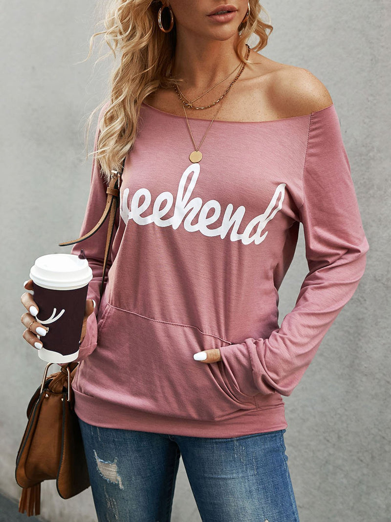 Pink Printed Long Sleeve Sweatshirt