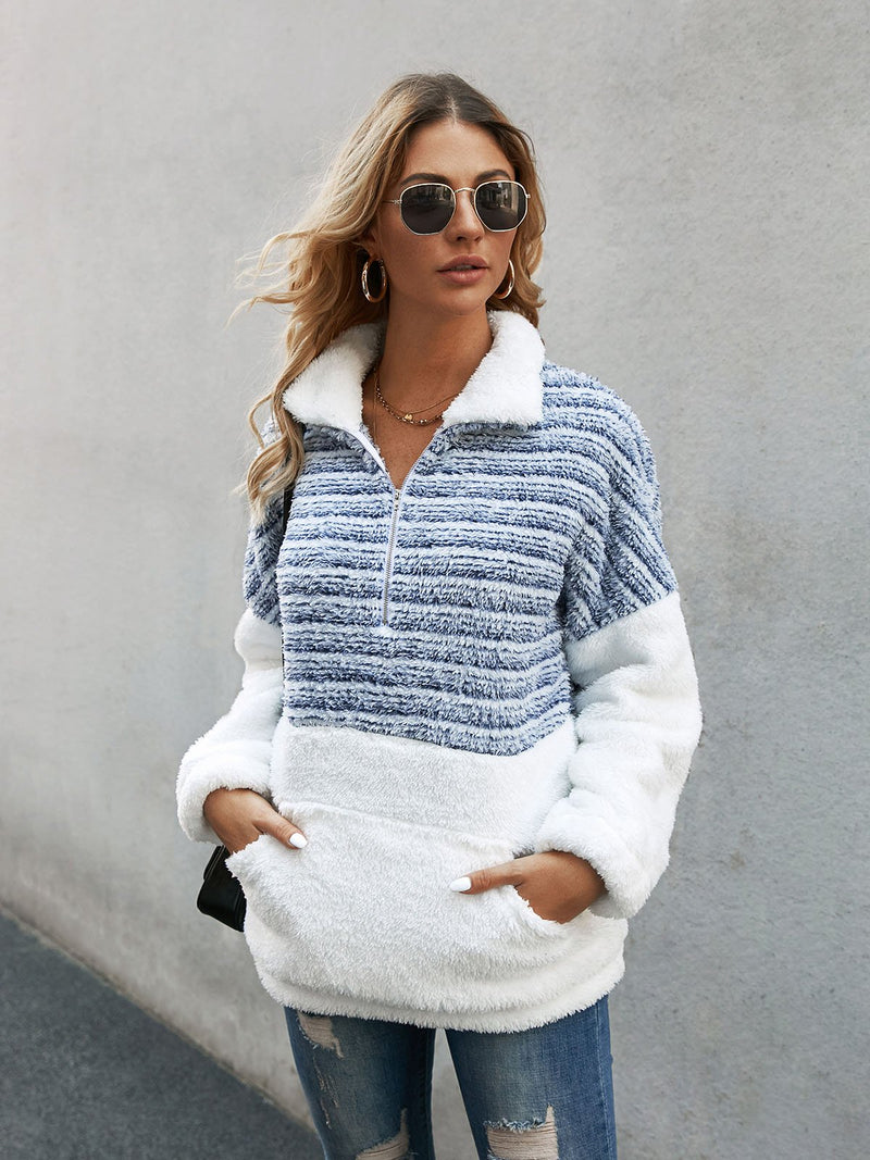 Blue Long Sleeve Solid Zipper Sweatshirt