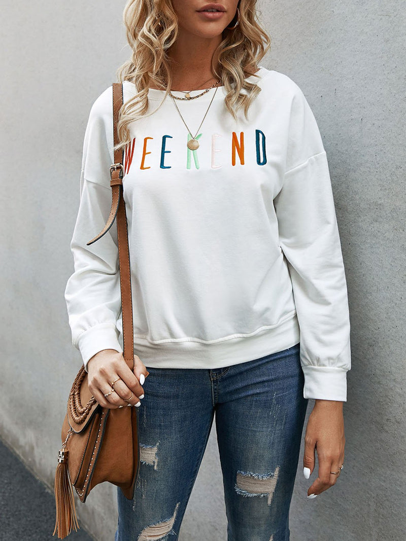 White Long Sleeve Letter Sweatshirt