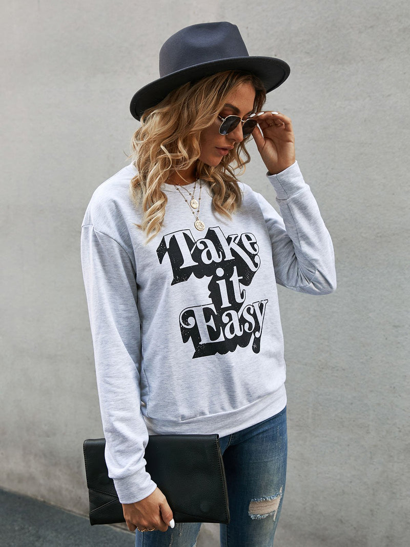 Light Gray Letter Casual Printed Sweatshirt