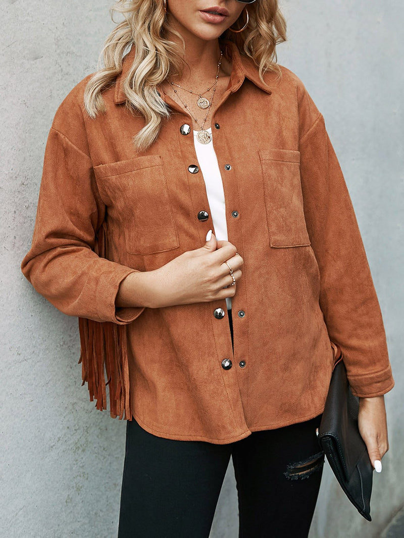 Light Brown Shift Casual Outerwear