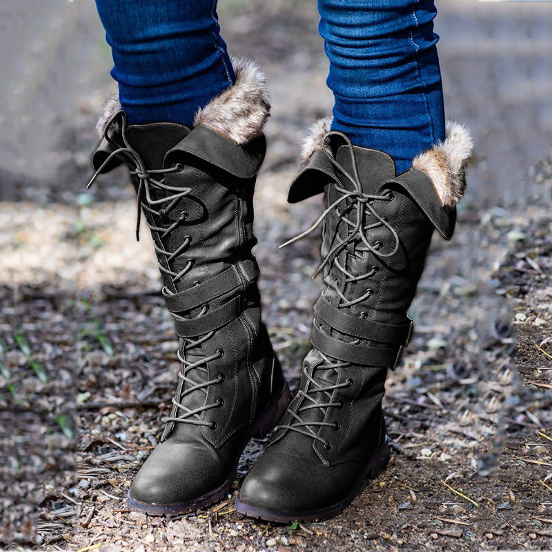 Lace-Up Buckle Low Heel Tall Boots Womens Warm Boots