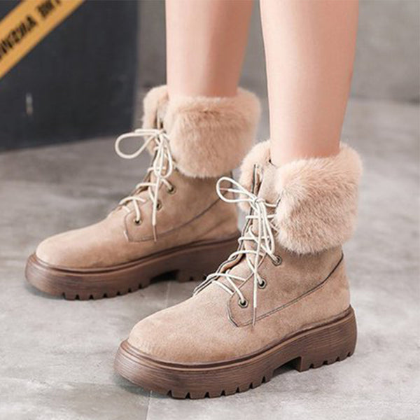 Women Round Toe Warm Boots Casual Lace-Up Artificial Suede Shoes
