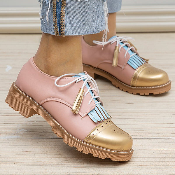 Women Round Toe All Season Lace-Up Chunky Heel Casual Loafers