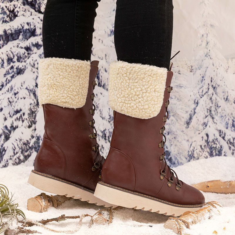 Low Heel Mid-Calf Boots PU Lace-Up Womens Winter Boots