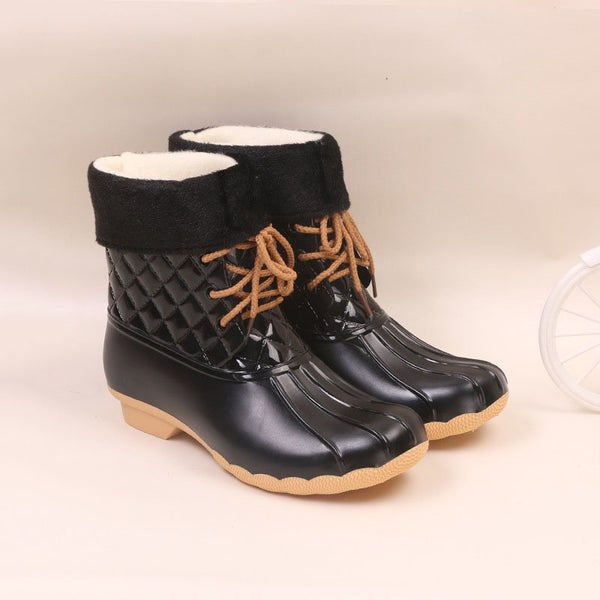 Women Fashion Waterproof Non-slip Boots Lace-Up Low Heel Boots