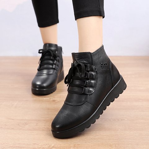 Black Lace-Up Winter Daily Boots