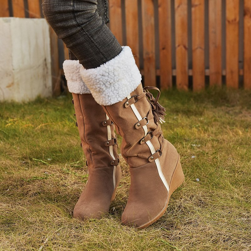 Lace-Up Faux Suede Boots
