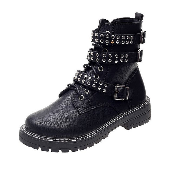 Black Casual Lace-Up Low Heel Pu Winter Boots