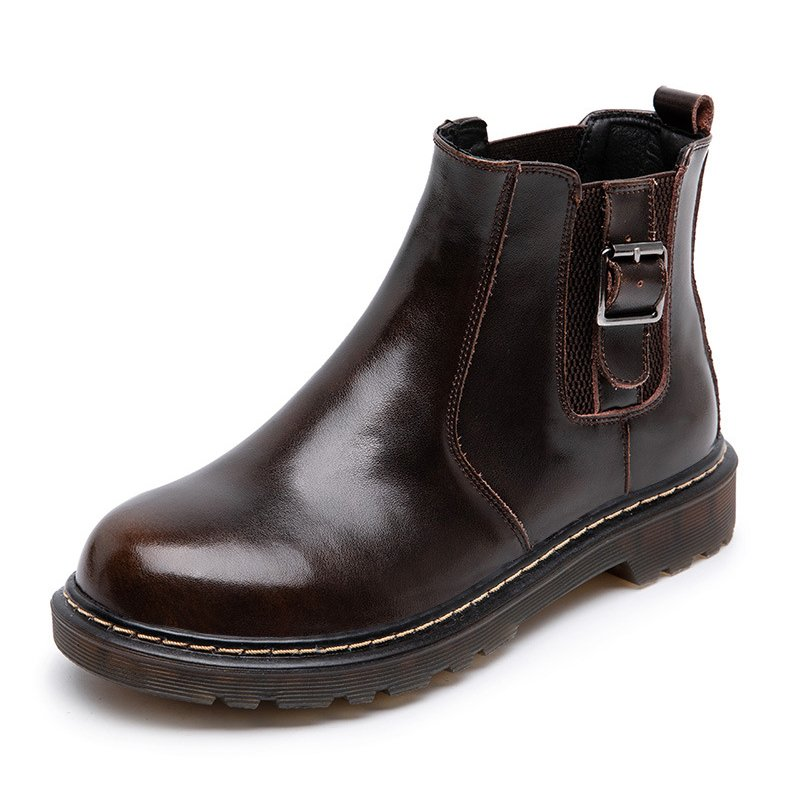 Womens Winter Daily Leather Low Heel Boots