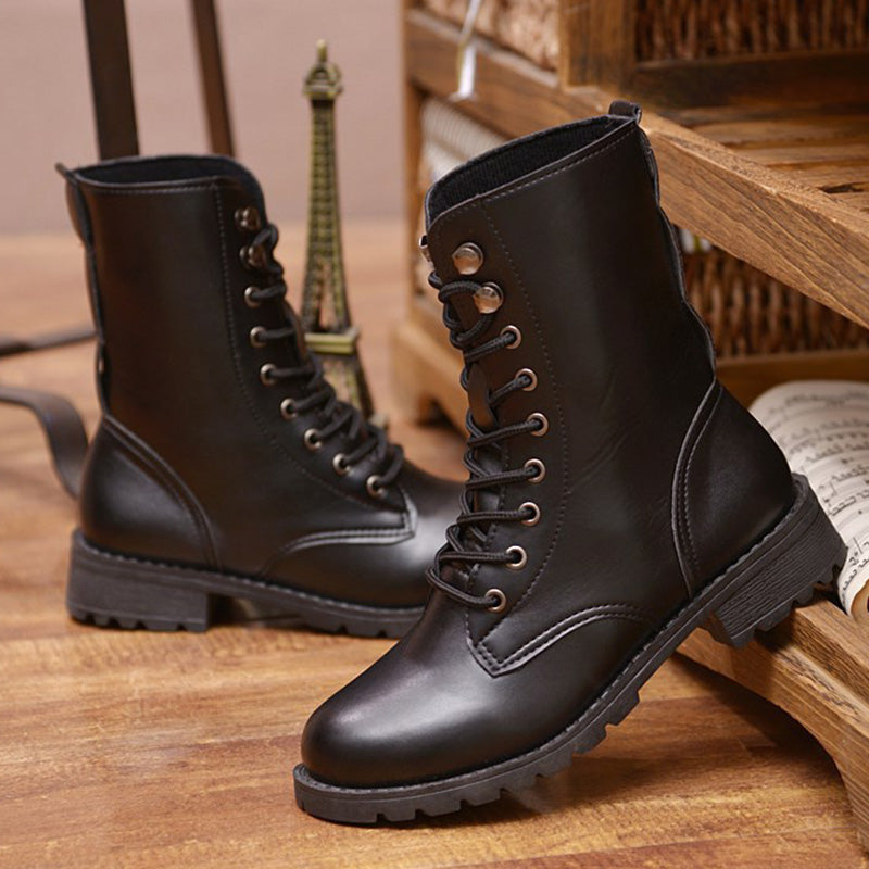 Black Daily Pu Lace-Up Flat Heel Boots