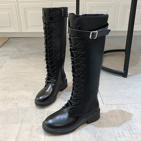 Daily Fall Zipper Leather Boots
