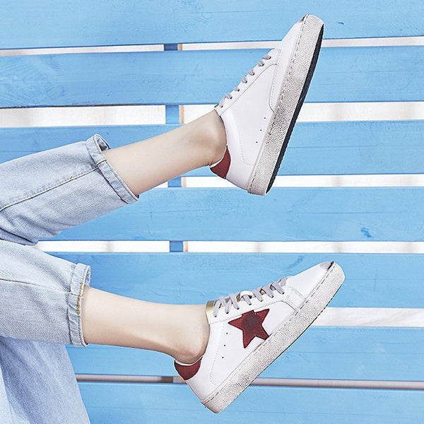 Red Star Accents Sneaker Daily Casual Shoes