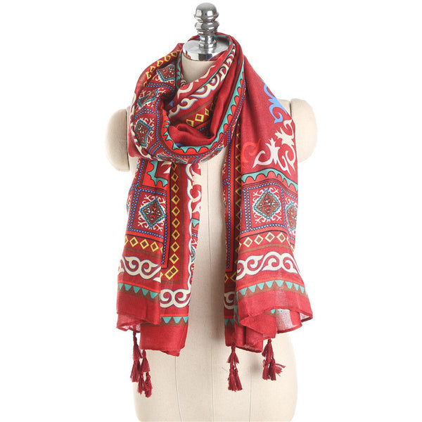 Red Vintage Bohemian Ethnic Tassel Scarf Sunscreen Visor Silk Beach Towel