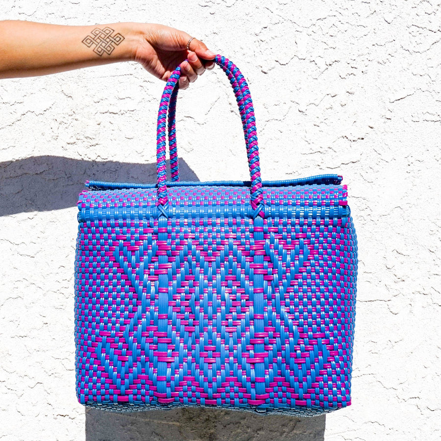 Medium Lupe Box Bag - Blue and Pink - El Cholo's Kid
