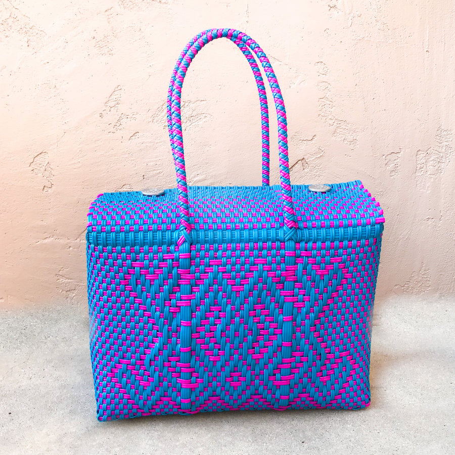 Medium Lupe Box Bag - Blue and Pink | El Cholo's Kid - El Cholo's Kid
