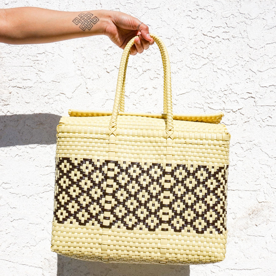 Medium Lupe Box Bag - Vintage Yellow and Brown - El Cholo's Kid
