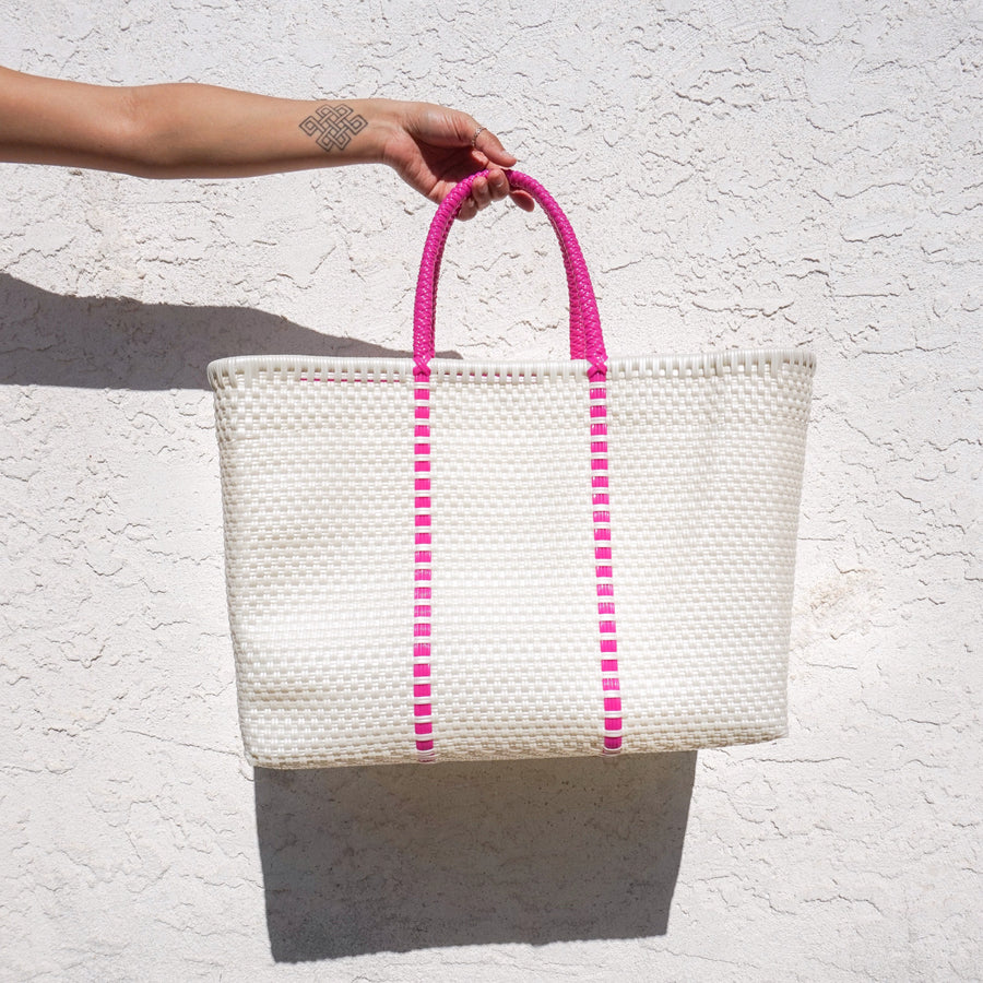 Large Tote Bag - Pink Handles - El Cholo's Kid