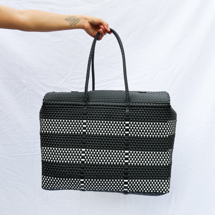 Large Lupe Box Bag - Striped Black and White - El Cholo's Kid - El Cholo's Kid