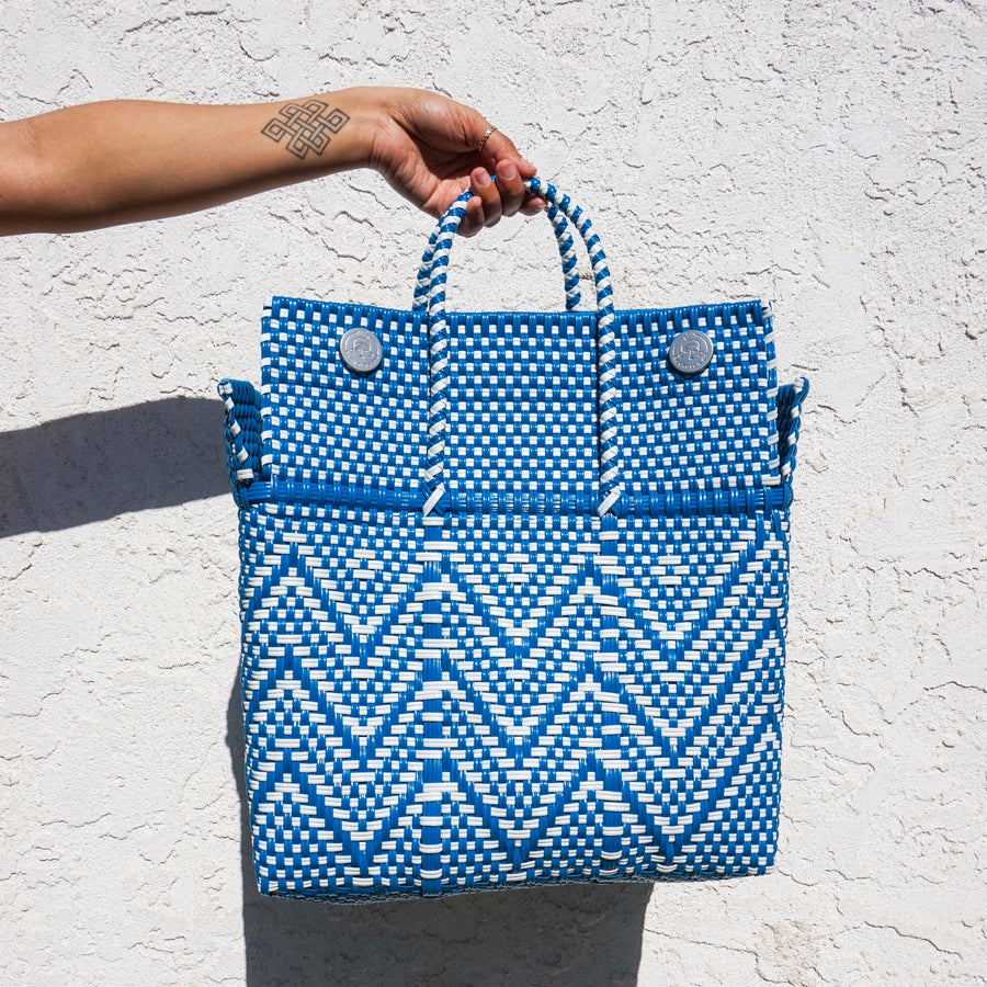 Medium Lupe Box Bag - Blue and White - El Cholo's Kid