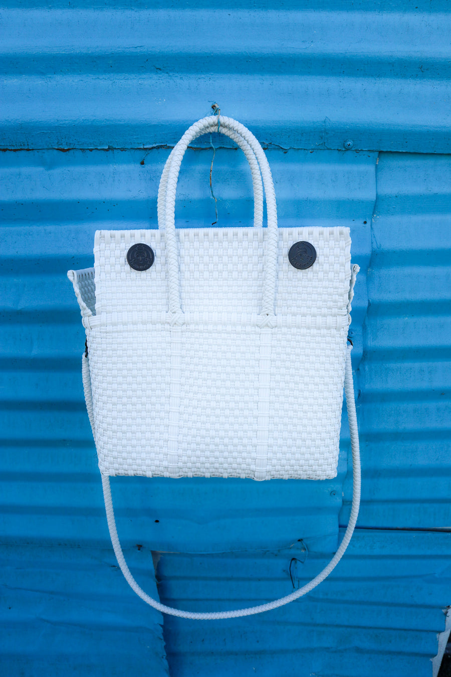 Small Lupe Box Bag – White (With Strap) - El Cholo's Kid
