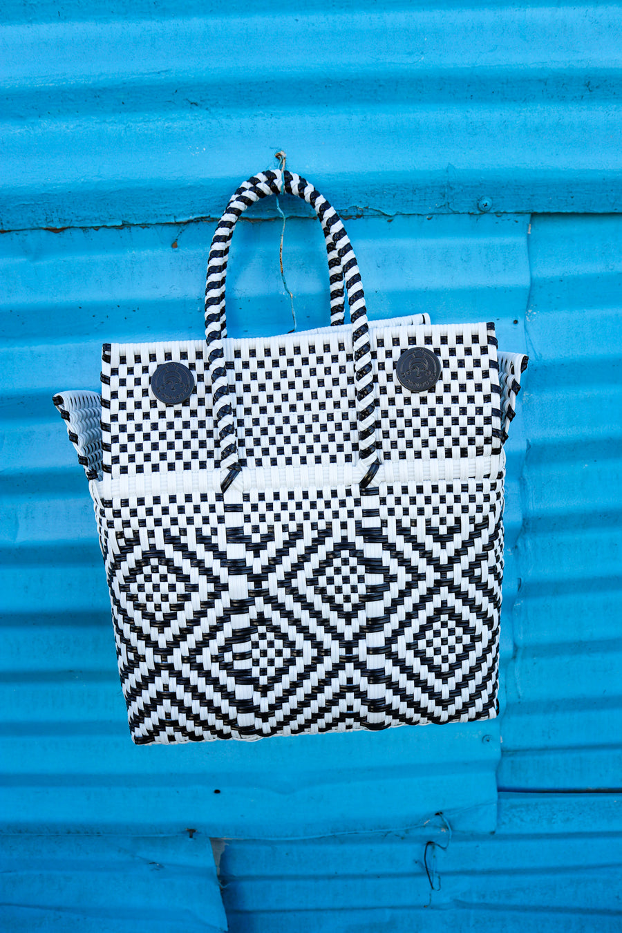Small Lupe Box Bag – Black and White (With Strap) - El Cholo's Kid