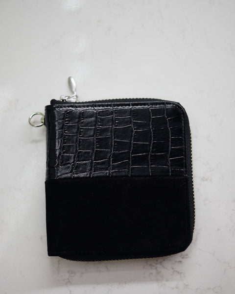 SHORT CROC/SUEDE WALLET