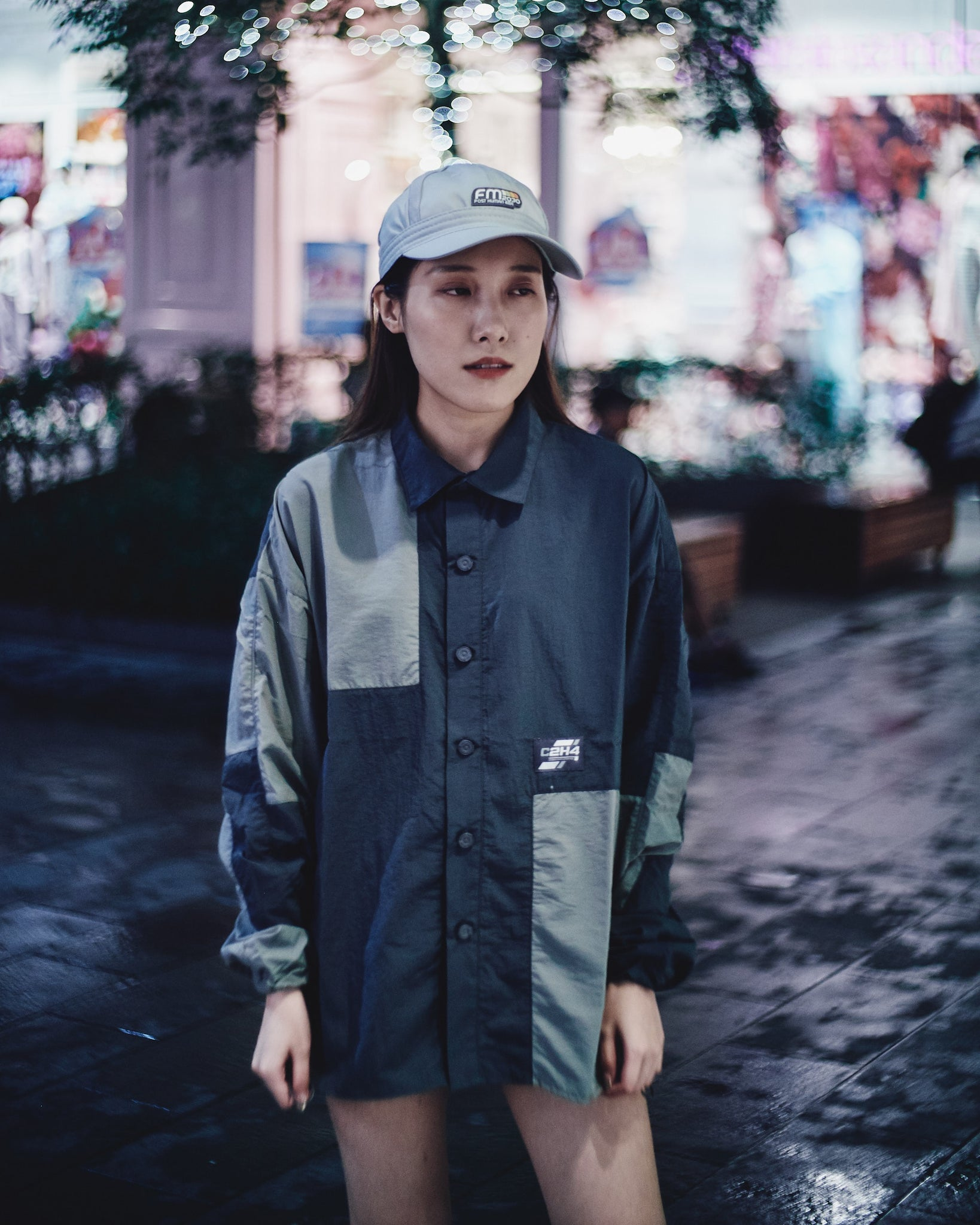 C2H4 COLOR BLOCKED CORDS SHIRT - DARK GREY