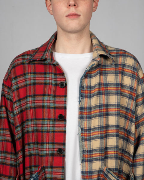 GREG LAUREN DENIM EDGED BOXY STUDIO SHIRT