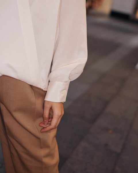 3.1 PHILLIP LIM L/S COLLARLESS SOFT DRAPED SLEEVED BLOUSE