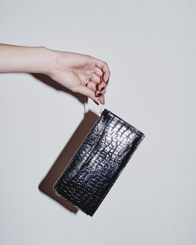LEATHER LONG CROC WALLET