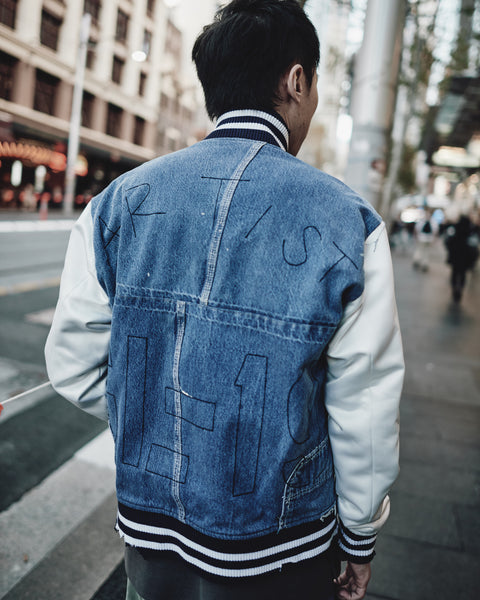 GREG LAUREN DENIM/IVORY SATIN VARSITY JACKET