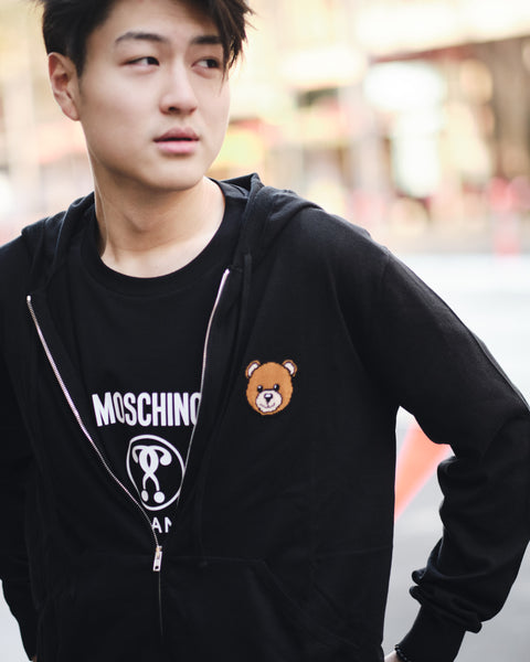 MOSCHINO BEAR KNITWEAR ZIP-UP HOODIE
