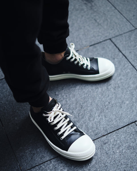 RICK OWENS LEATHER LOW-CUT SNEAKER [RU19F4891-LPO-09]