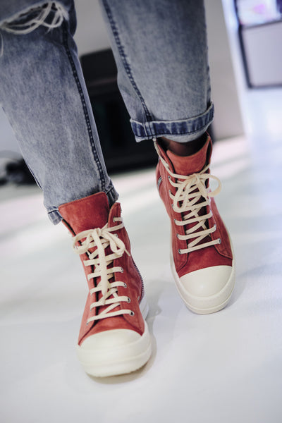 RICK OWENS LEATHER HI-TOP SNEAKERS W (BURNT PINK)