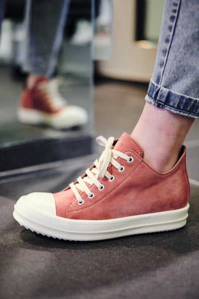 RICK OWENS LEATHER LOW-CUT SNEAKERS W (BURNT PINK)