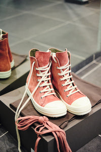 LEATHER HI-TOP SNEAKERS - BURNT PINK