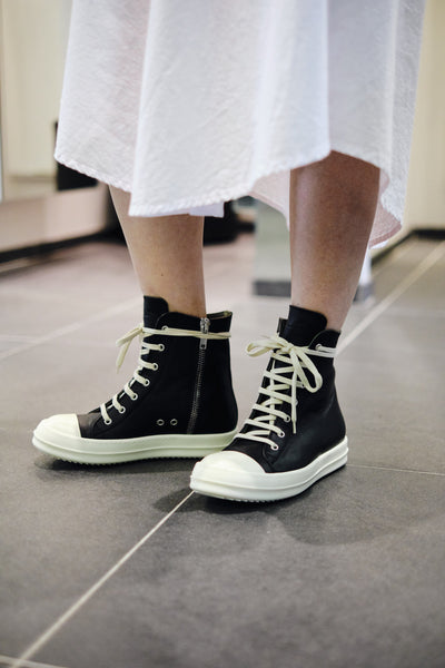 RICK OWENS LEATHER HI-TOP SNEAKERS W -BLACK