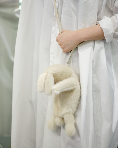 FAT BUNNY MINK FUR BAG - WHITE