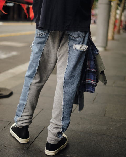 GREG LAUREN 50/50 DENIM/TERRY LONG PANT