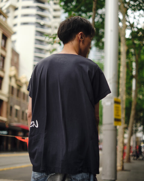 GREG LAUREN NAVY DECONSTRUCTTED GL TEE